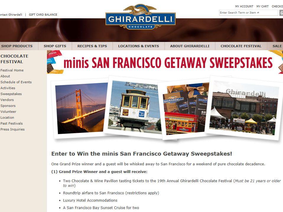 Ghirardelli minis San Francisco Getaway Sweepstakes