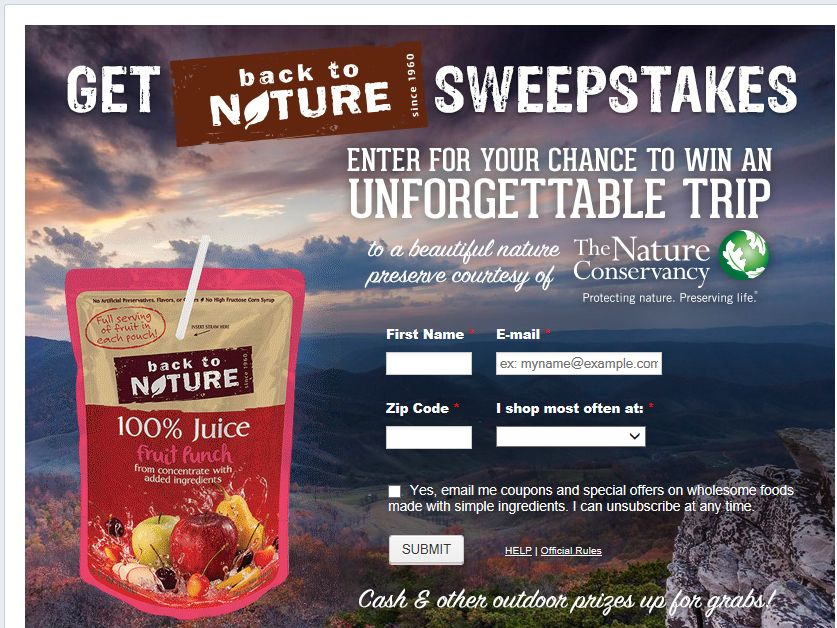back to NATURE Snacks $5,000 Sweepstakes