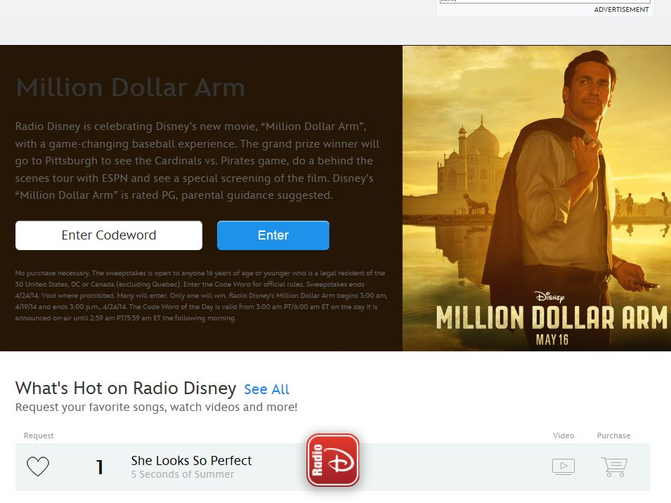 Disney Radio Million Dollar Arm Sweepstakes – Code Required