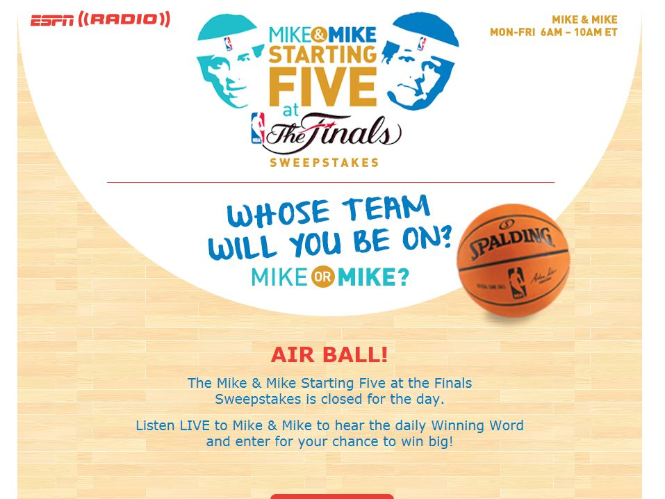 The Mike & Mike Starting Five at the Finals Sweepstakes