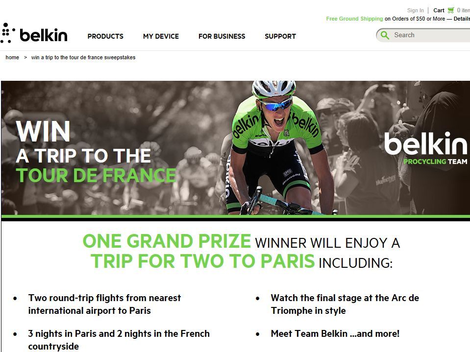 Belkin Win a Trip to the Tour de France Sweepstakes