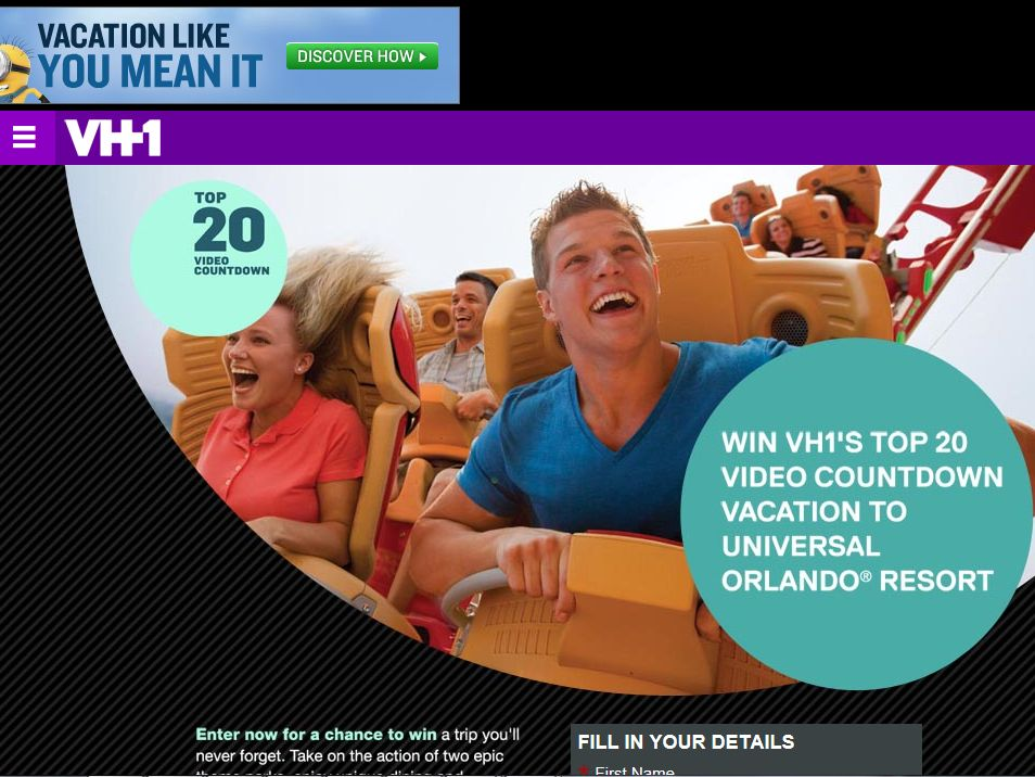 VH1's Top 20 and Universal Orlando's Sweepstakes