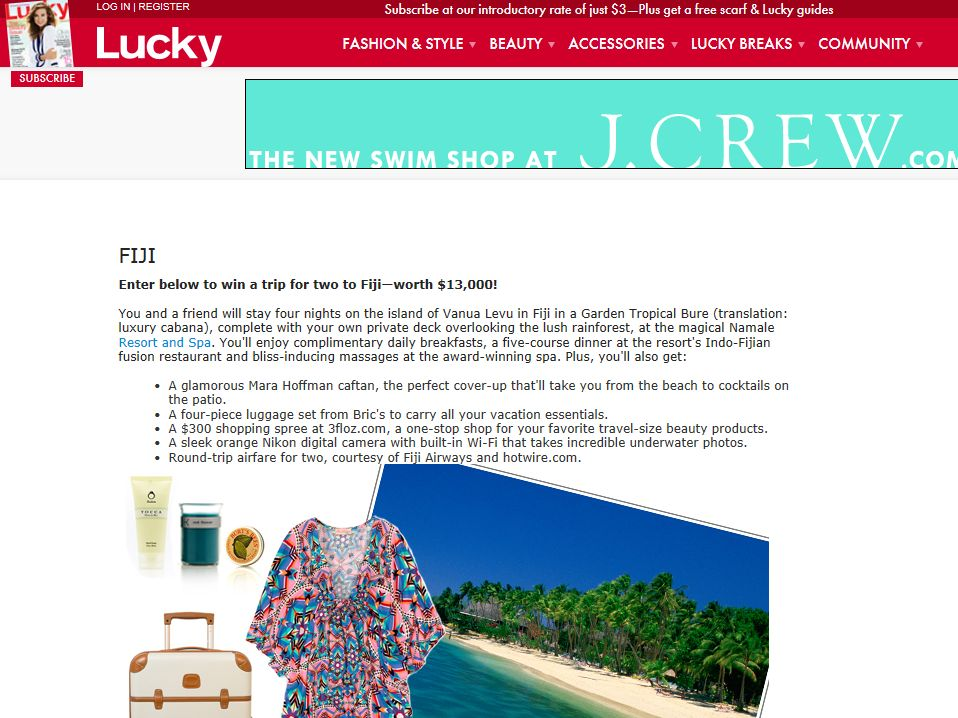 Lucky Magazine Fiji Trip Sweepstakes