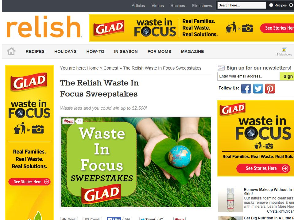 "Relish ""Waste in Focus"" Sweepstakes"