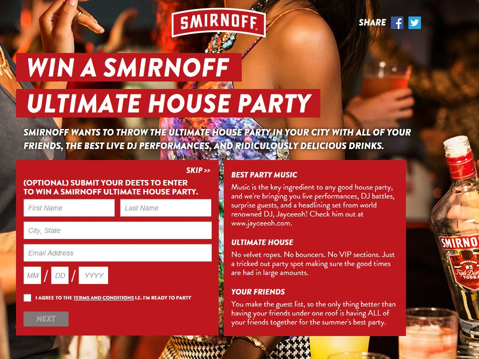 Smirnoff Spotify Ultimate House Party Song Sweepstakes