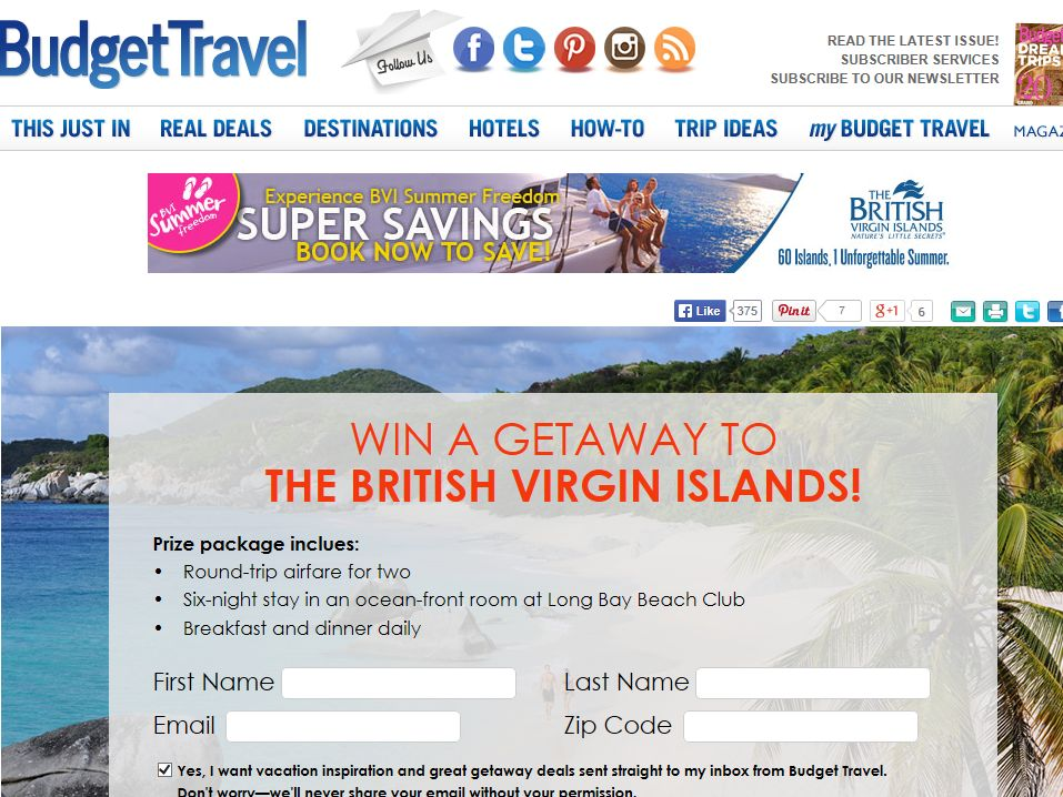 """Budget Travel """"Win a trip to the BVI"""" Sweepstakes"""