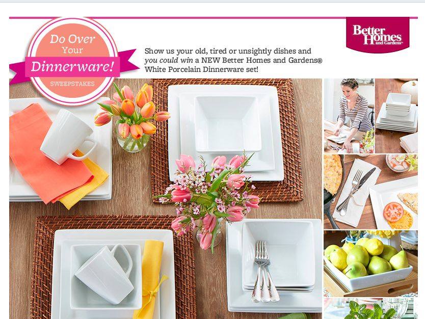Better Homes Garden Do Over Your Dinnerware Instagram Sweepstakes