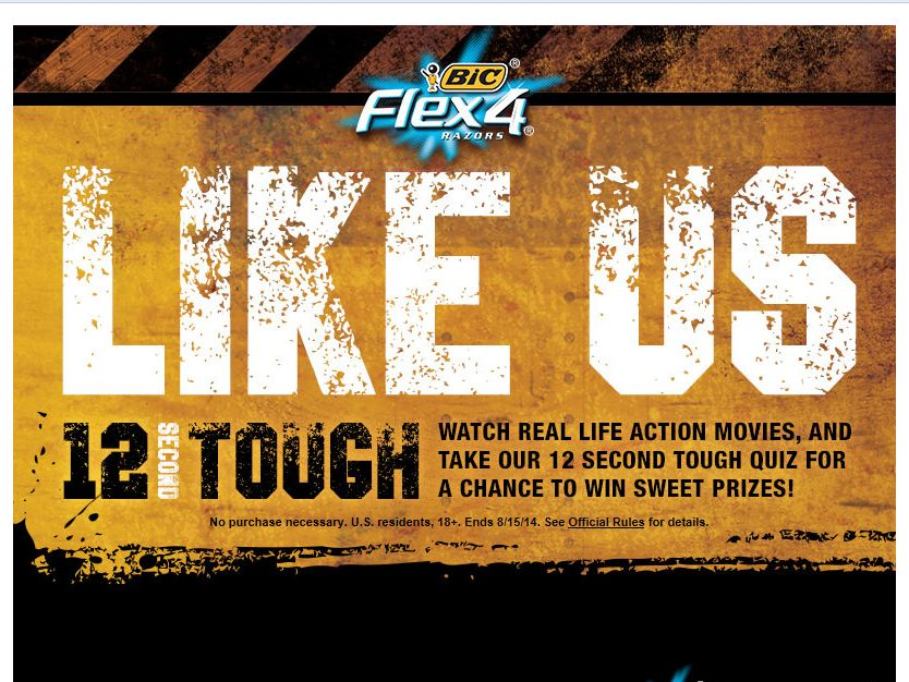 "BIC Men's Razors ""12 Second Tough"" Sweepstakes"
