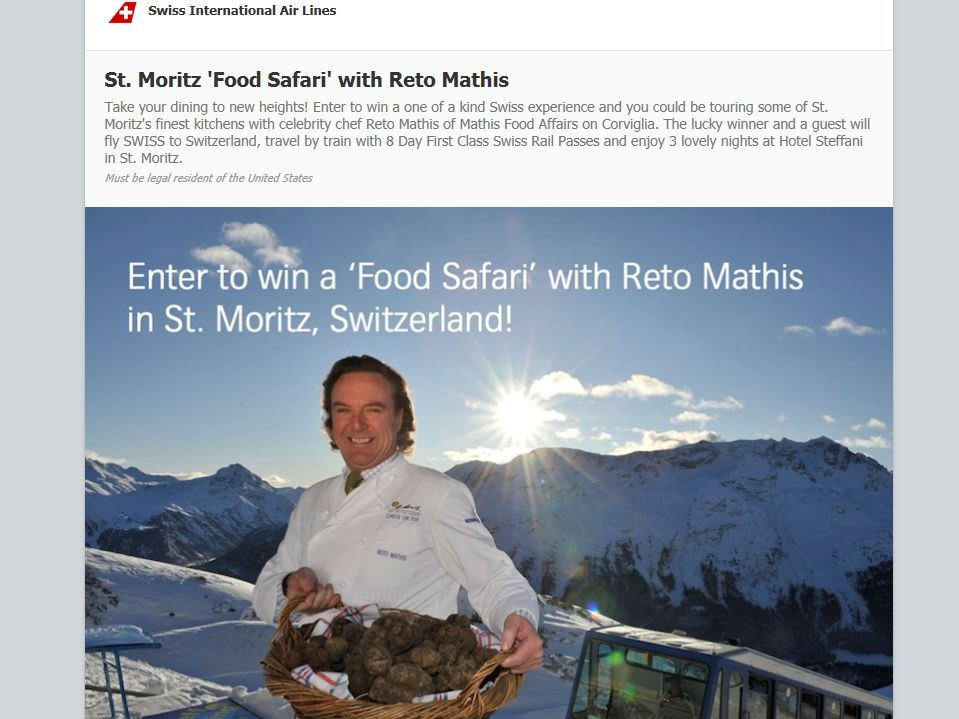 Swiss International Air Lines' Food Safari with Reto Mathis Sweepstakes