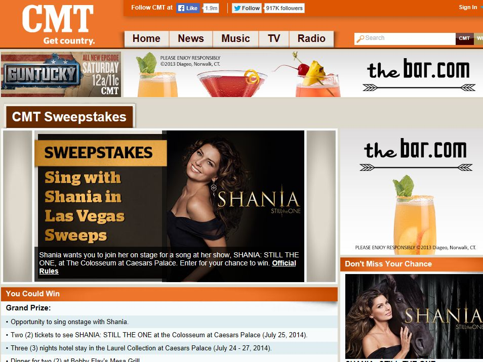 CMT Sing with Shania in Las Vegas Sweepstakes