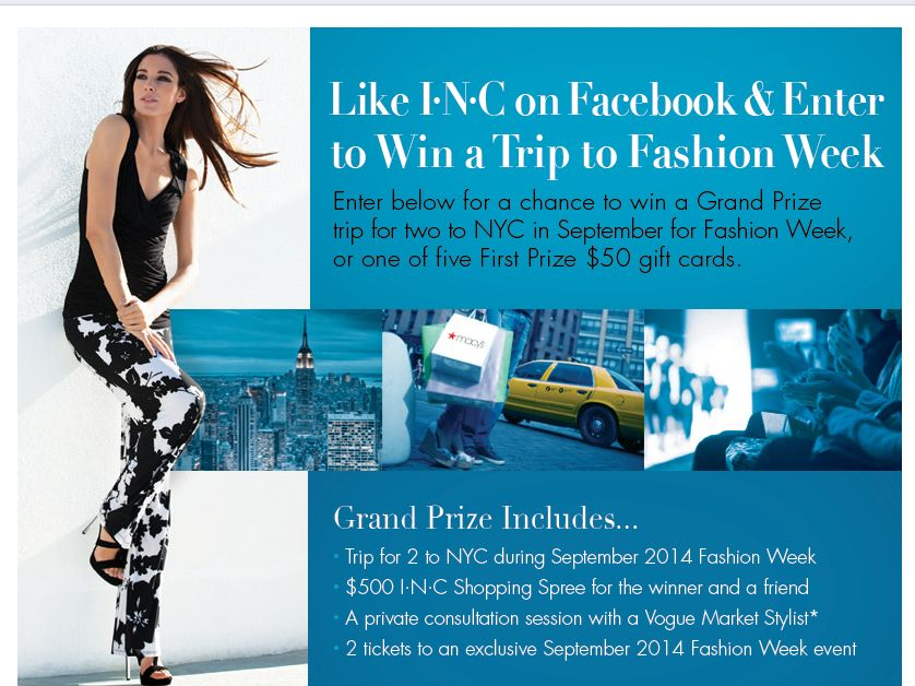 I•N•C Win a Trip to Fashion Week Sweepstakes