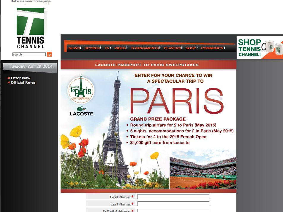 Tennis Channel Lacoste Passport to Paris Sweepstakes