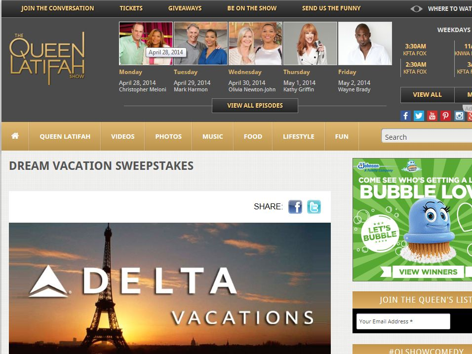 THE QUEEN LATIFAH SHOW Dream Vacation Giveaway Sweepstakes