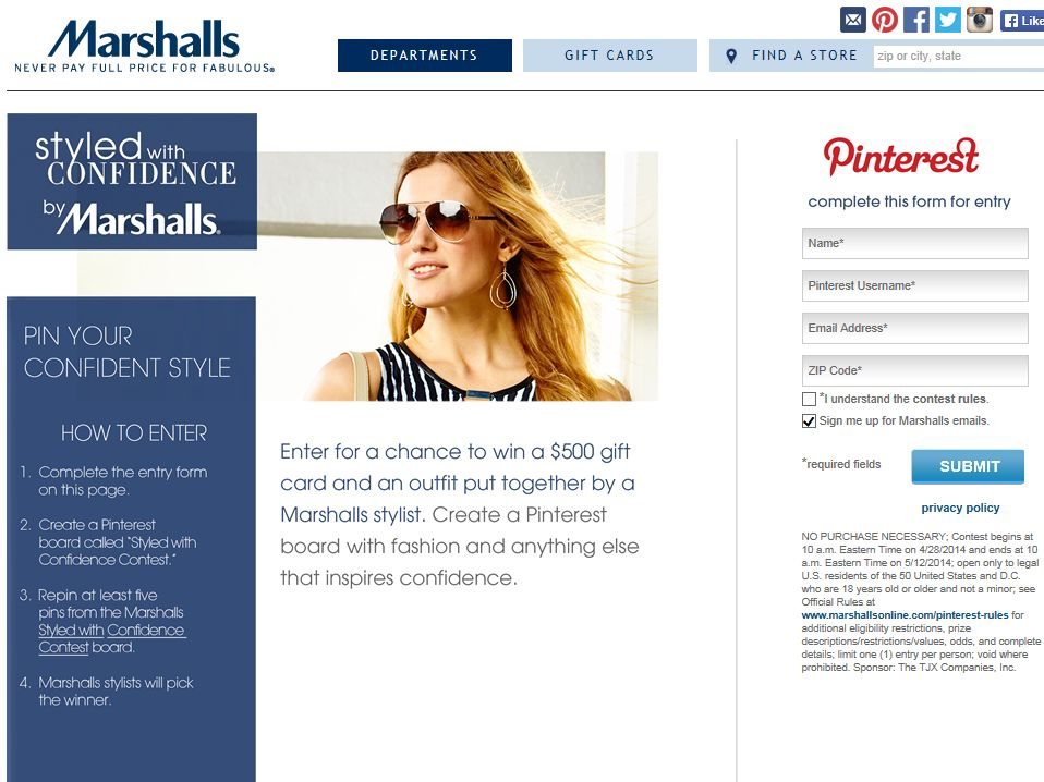 Marshalls Styled With Confidence Contest