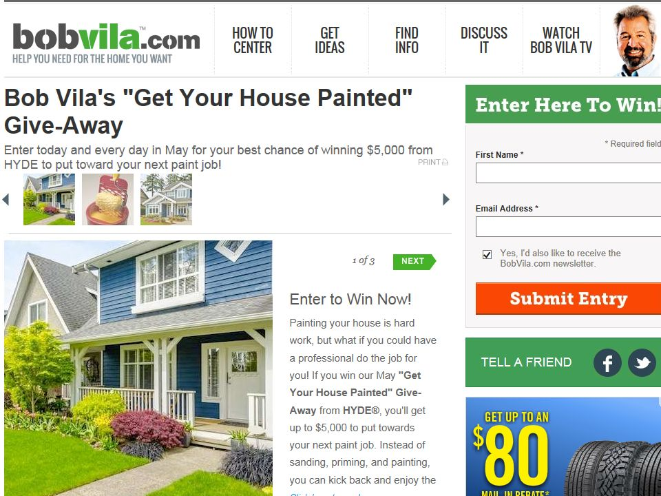 """Bob Vila's/HYDE """"Get Your House Painted"""" Give-Away Sweepstakes"""