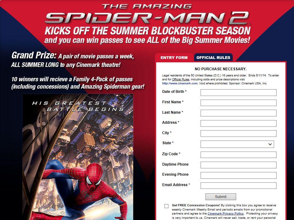 Cinemark Amazing Spiderman Sweepstakes