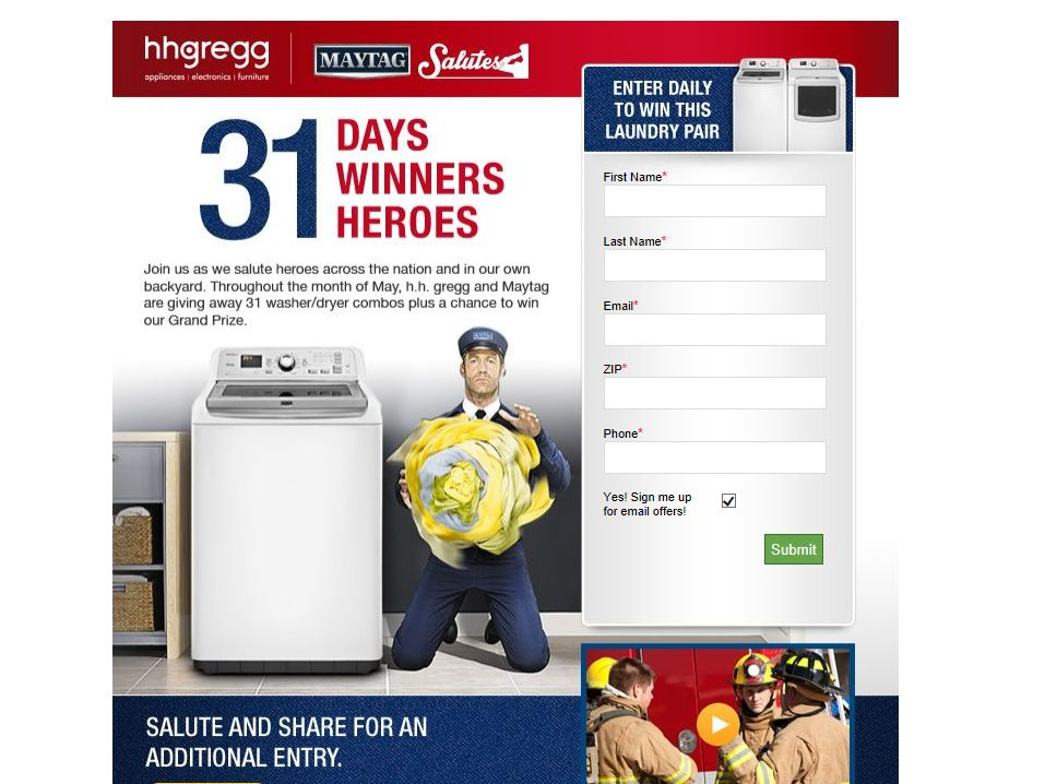 h.h. gregg & Maytag Salutes Our Heroes Sweepstakes