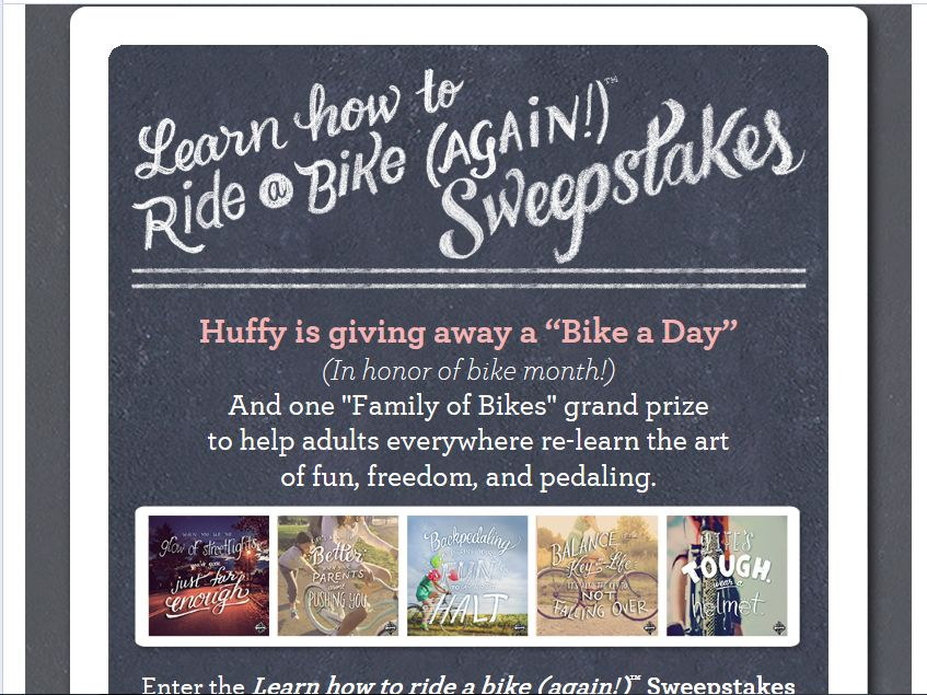 Huffy Learn to Ride Again Sweepstakes