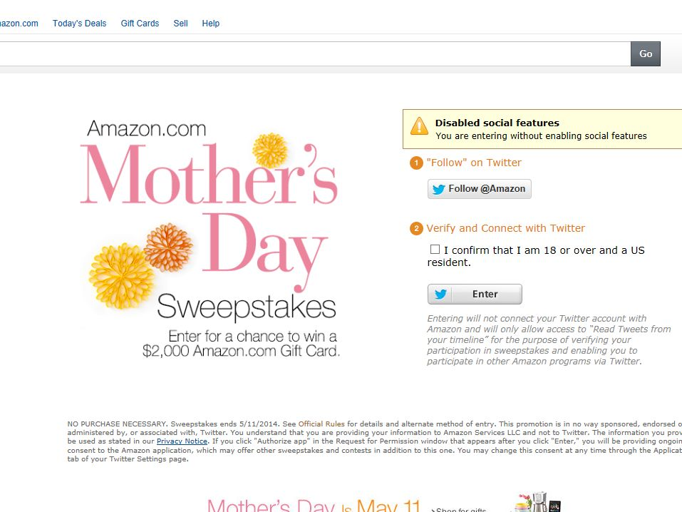 Amazon.com Mother's Day Sweepstakes