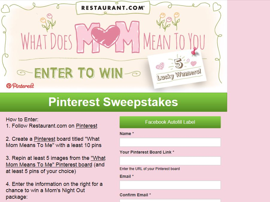 "The Dish ""What Does Mom Mean To You?"" Pinterest Sweepstakes"