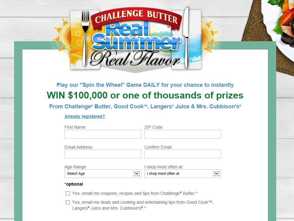 Challenge Butter $100,000 Real Summer, Real Flavor Sweepstakes