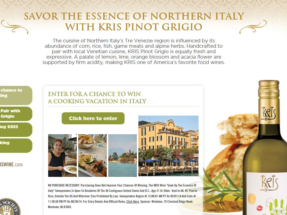 "KRIS Wine ""Soak up the Essence of Italy"" Sweepstakes"