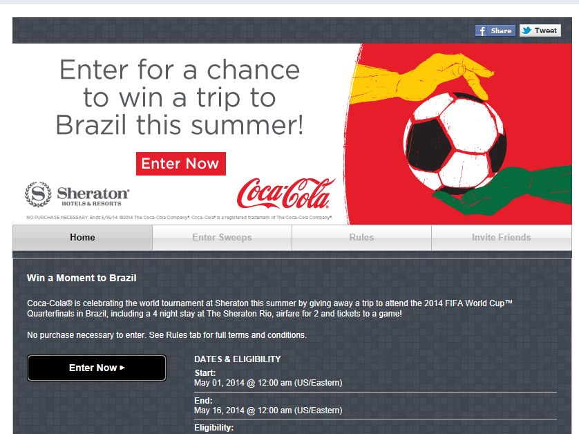 Sheraton Hotels Win a Moment to Brazil Sweepstakes
