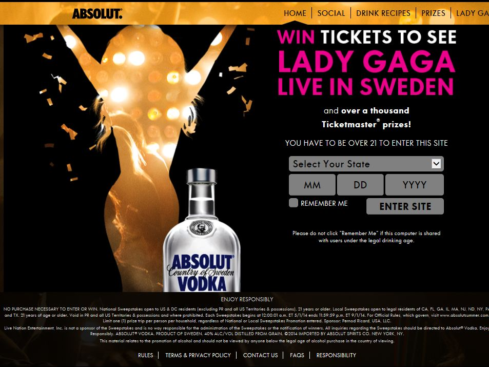The Absolut Summer National and Local Sweepstakes