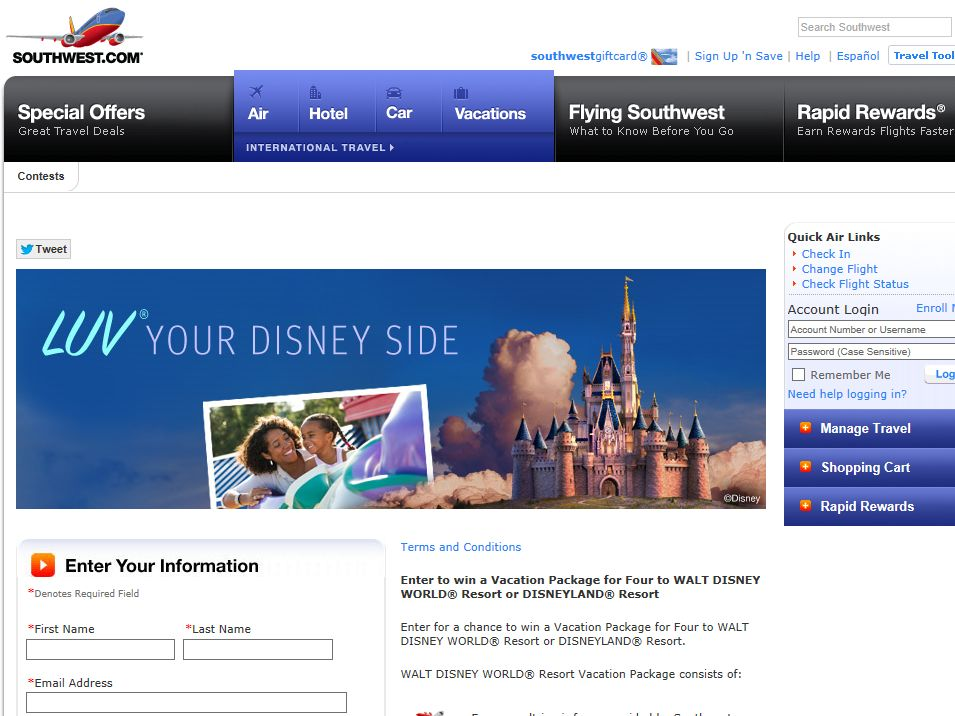 Southwest Airlines' Experience the Magic Sweepstakes