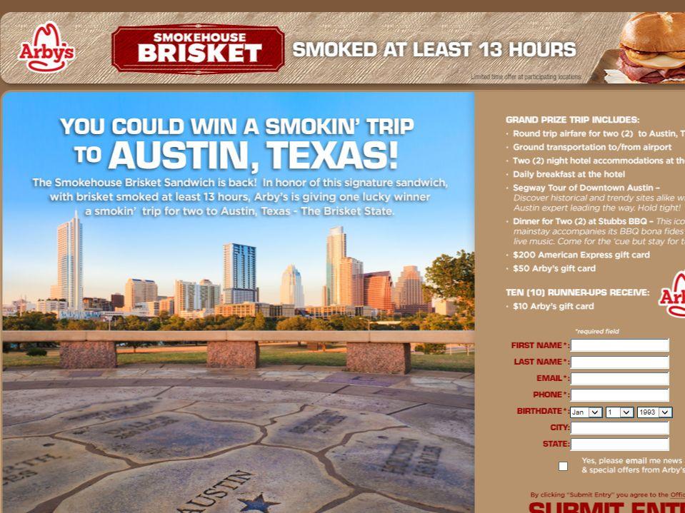 ARBY'S Smokehouse Brisket 'Austin BBQ Getaway' Sweepstakes