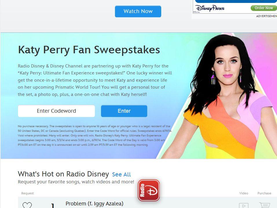 Disney Radio Katy Perry Fan Sweepstakes