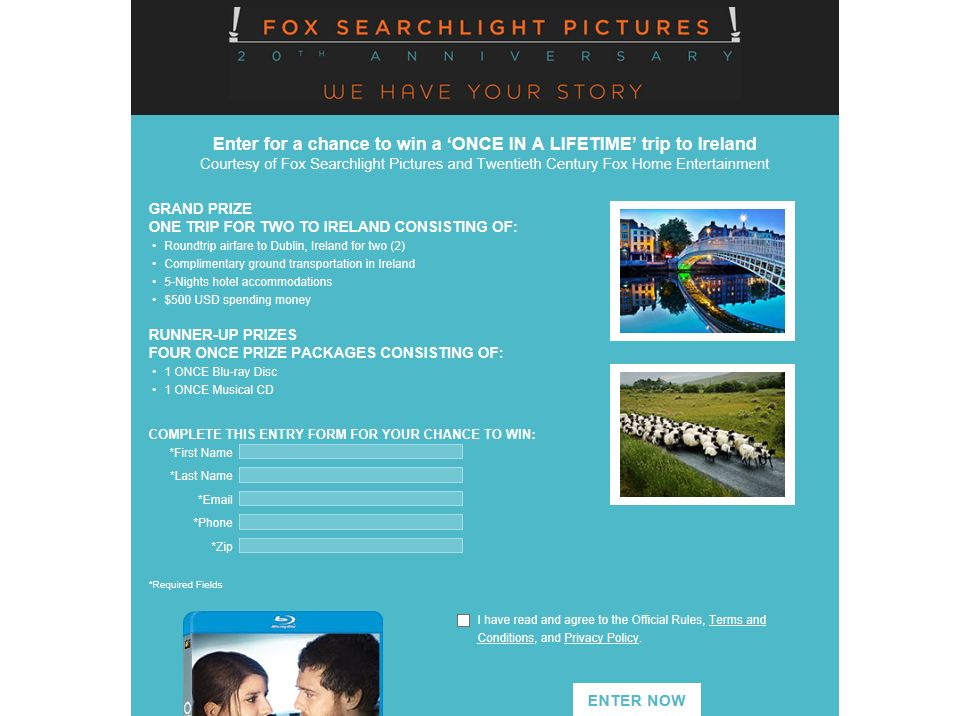 Fox Searchlight ONCE In a Lifetime Sweepstakes