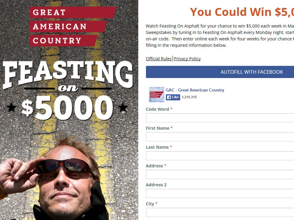 Great American Country Feasting On $5,000 Sweepstakes