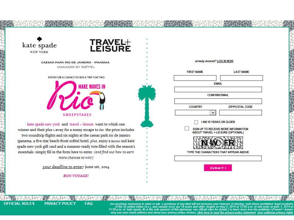 Travel & Leisure Make Waves in Rio Sweepstakes