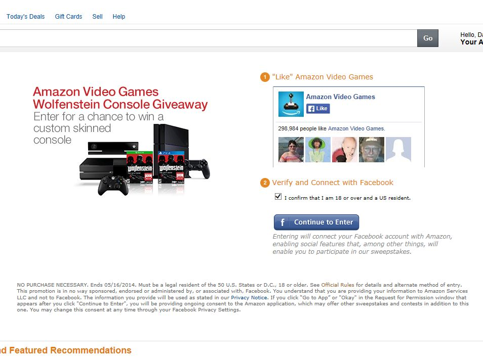 "Amazon Video Games ""Wolfenstein"" Console Giveaway Sweepstakes"