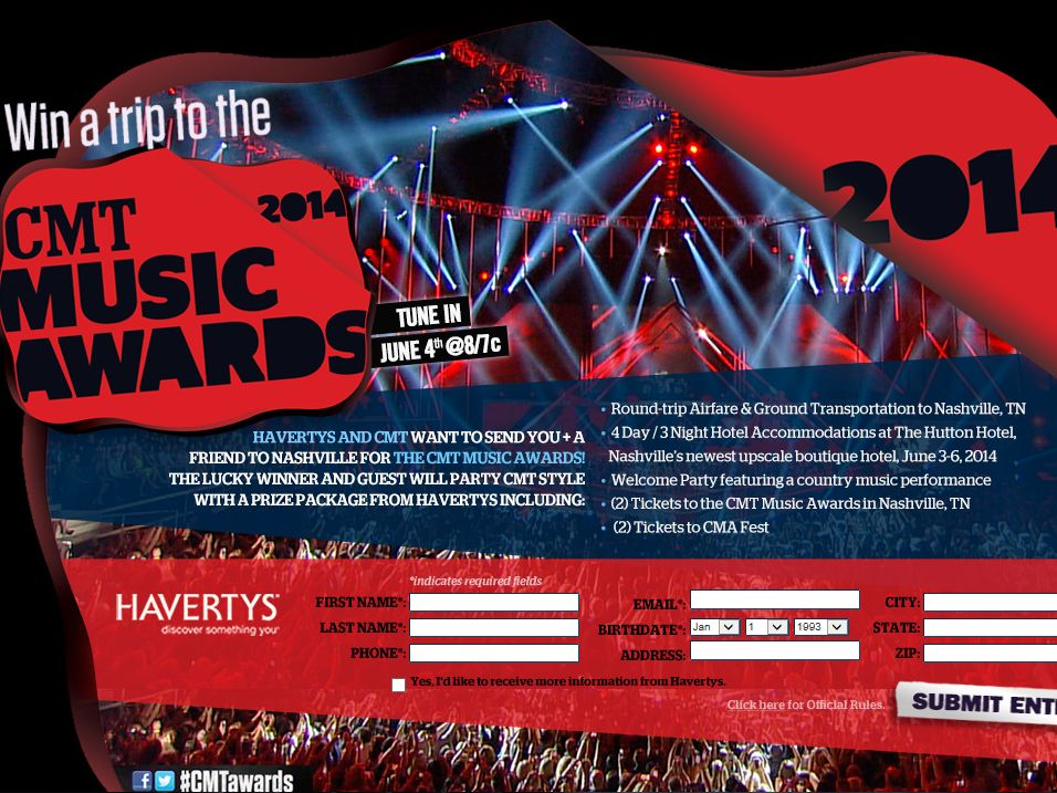 2014 Havertys & CMT Music Awards Promotion – Select Areas