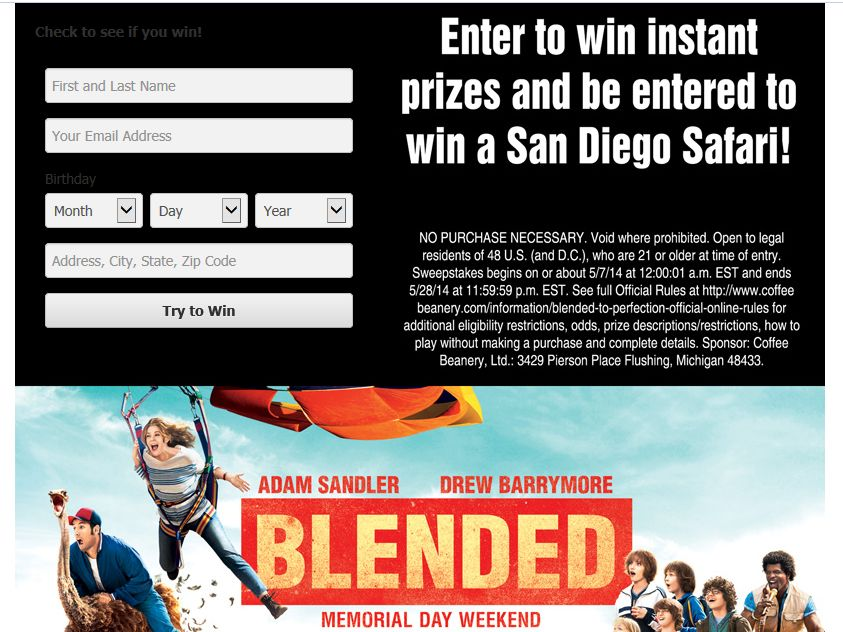 Coffee Beanery's Blended to Perfection Facebook Sweepstakes