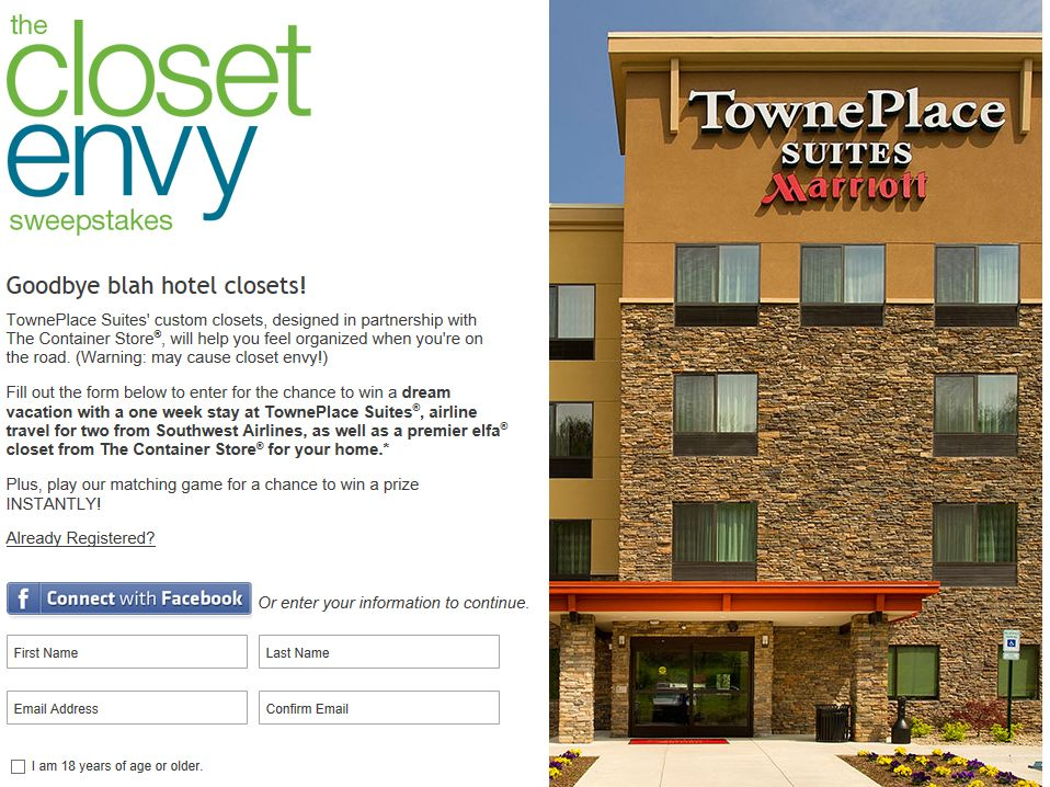 Marriot Closet Envy Sweepstakes