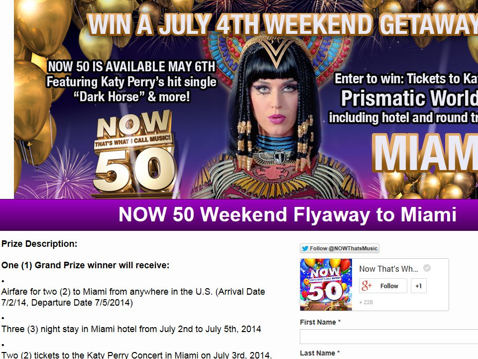 The NOW 50 Weekend Flyaway to Miami Sweepstakes