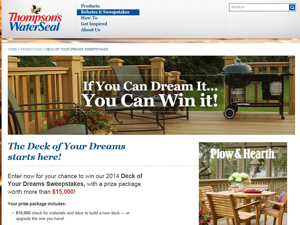 Thompson's Company 2014 Deck of Your Dreams Sweepstakes