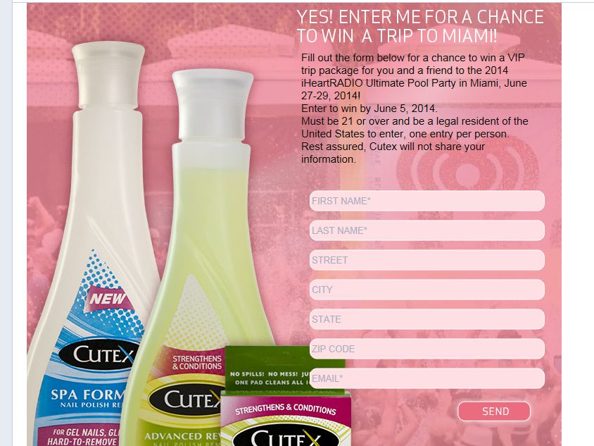 Cutex Nails Pool Party Sweepstakes