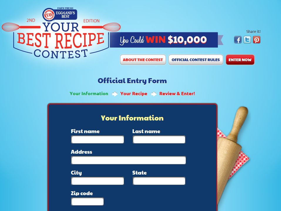 """The 2014 Eggland's Best """"Your Best Recipe"""" Contest"""