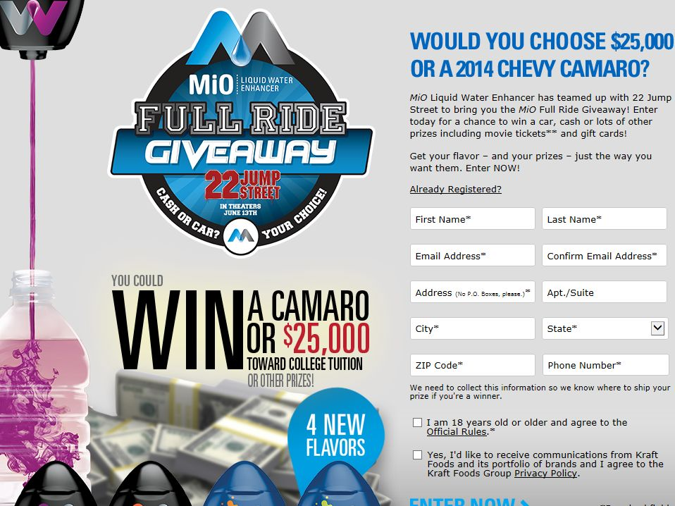 MIO Full Ride Sweepstakes