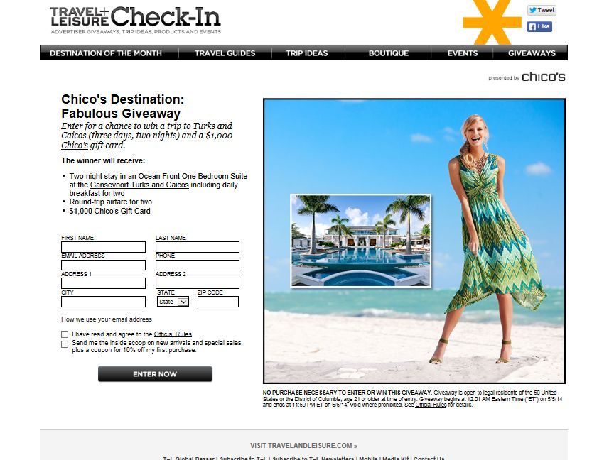 Chico's Destination Fabulous Giveaway Sweepstakes