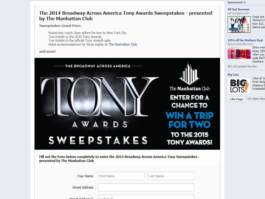 The 2014 Broadway Across America Tony Awards Sweepstakes