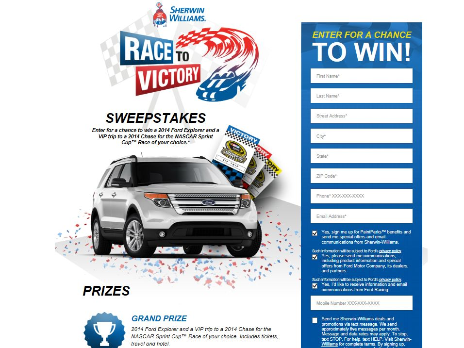 """Sherwin Williams 2014 """"Race to Victory"""" Sweepstakes"""