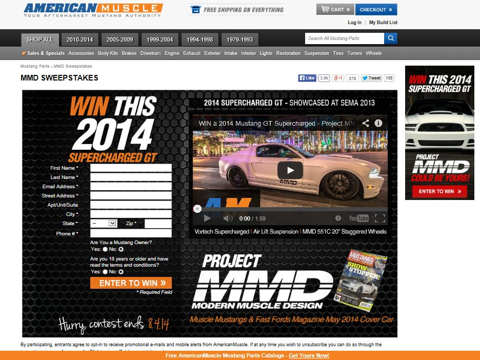 Win a 2014 Mustang GT Supercharged