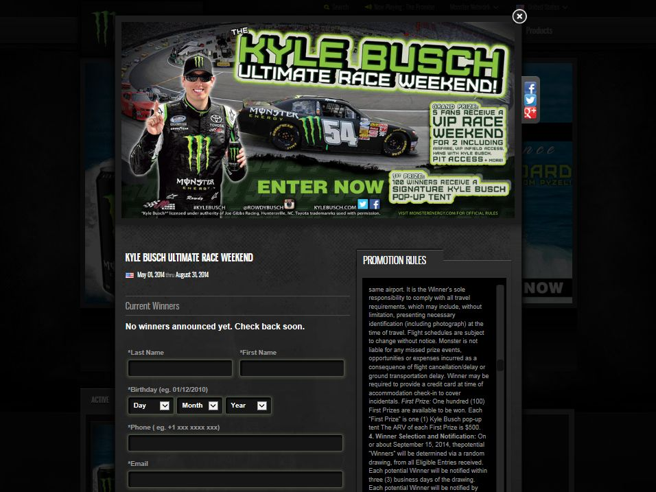 Monster Energy Kyle Busch's Ultimate Race Weekend Sweepstakes