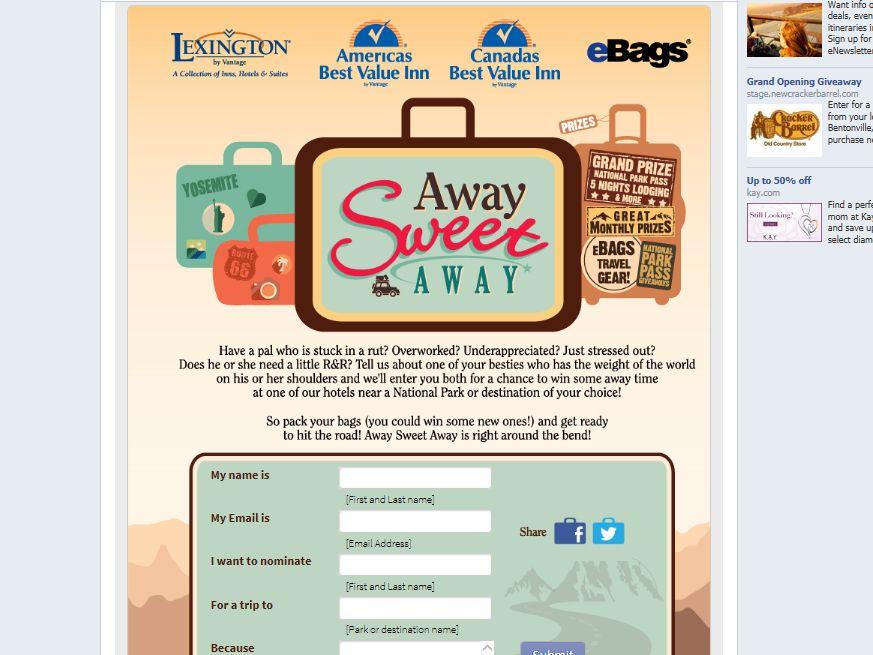 Vantage Hospitality Group Away Sweet Away Promotion