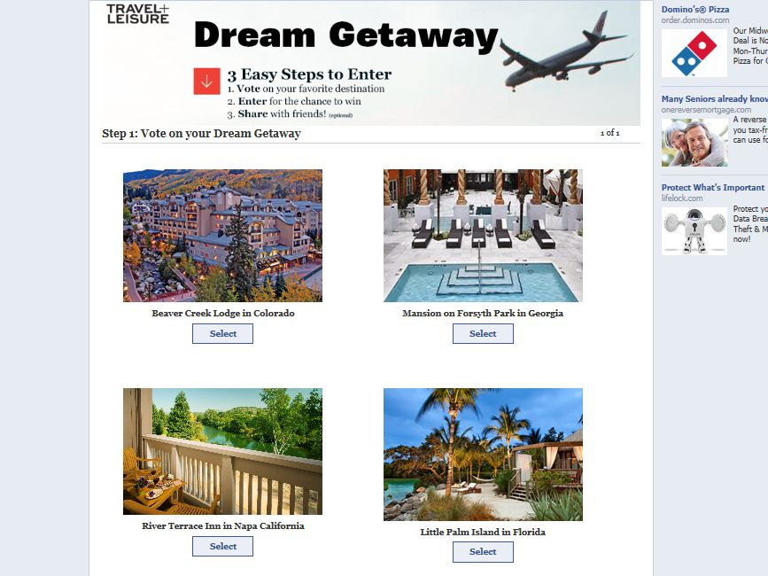 The Travel + Leisure Choose Your Destination Giveaway Sweepstakes